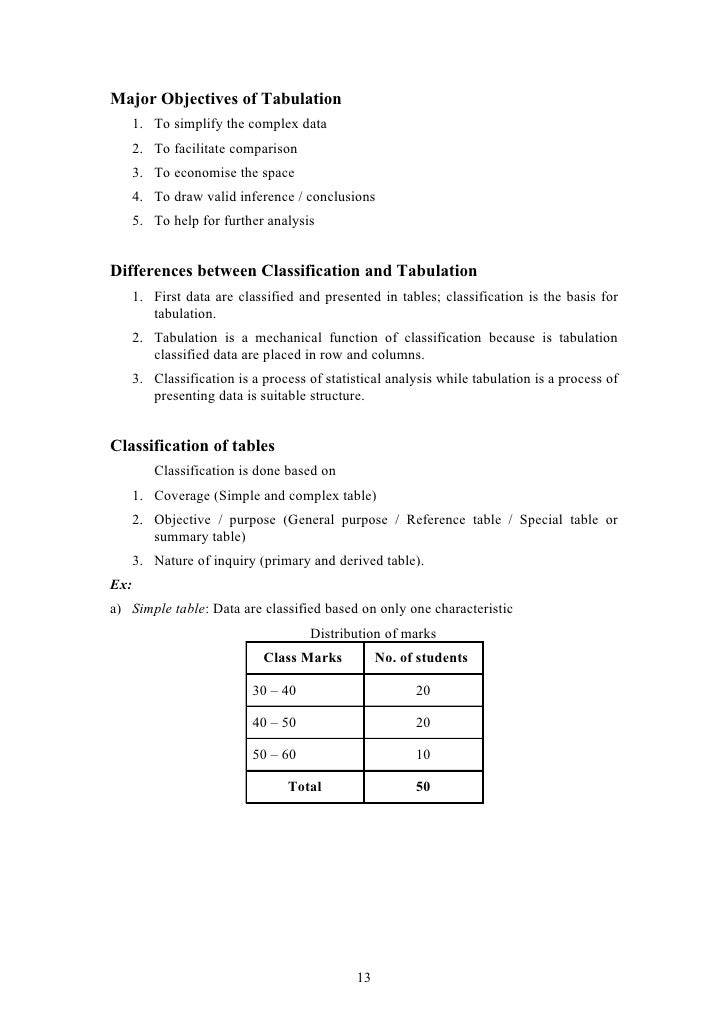 difference between classification and tabulation