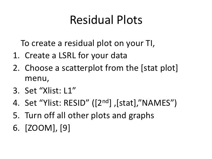 how to create a residual plot on classpad