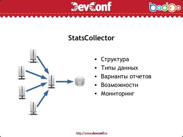 StatsCollector • Структура • Типы данных • Варианты отчетов • Возможности • Мониторинг