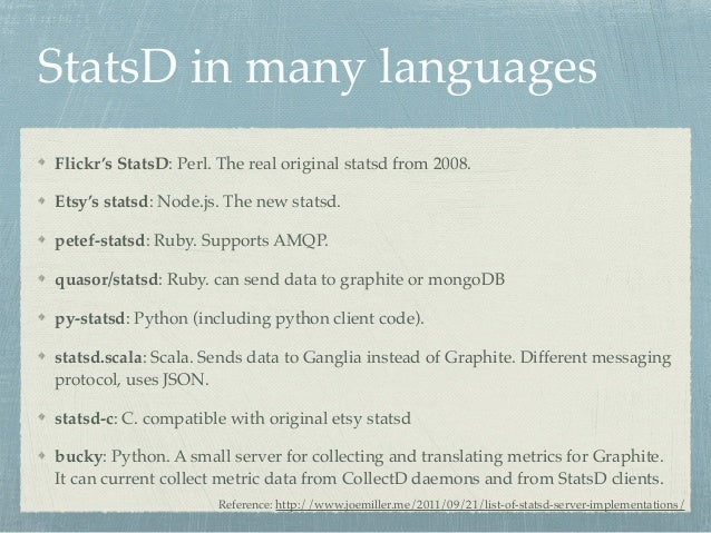 StatsD in many languages  Flickr's StatsD: Perl. The real original statsd from 2008.!  Etsy's statsd: Node.js. The new sta...