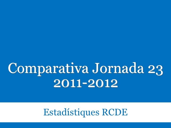 Estadístiques RCDE. Comparativa J23. 2011-2012