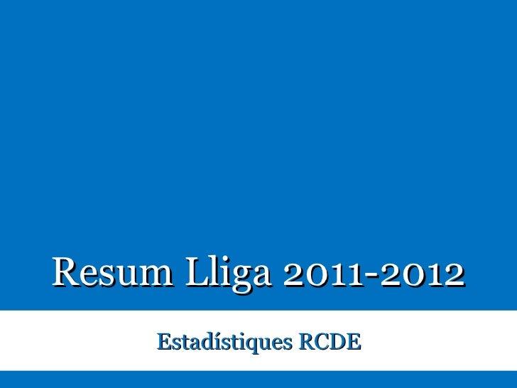 Resum Lliga 2011-2012                              Estadístiques RCDEEstadístiques RCDE. Resum Lliga 2011-2012   1      Tw...