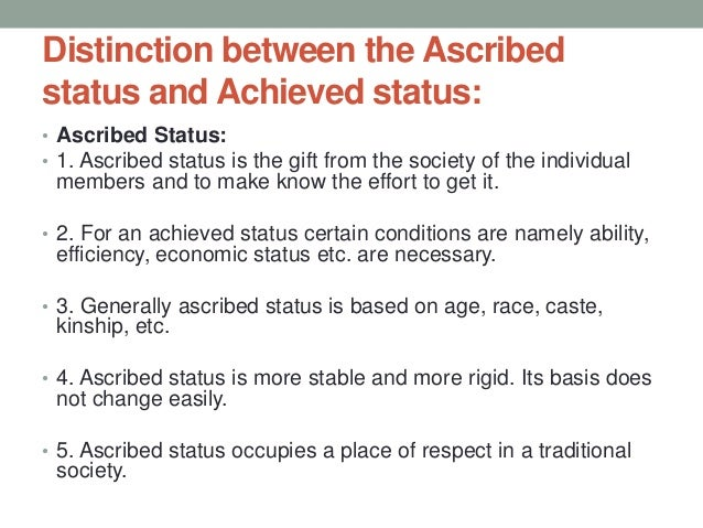 what is ascribed status in sociology