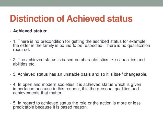 examples of ascribed status and achieved status