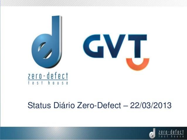 Status Diário Zero-Defect – 22/03/2013