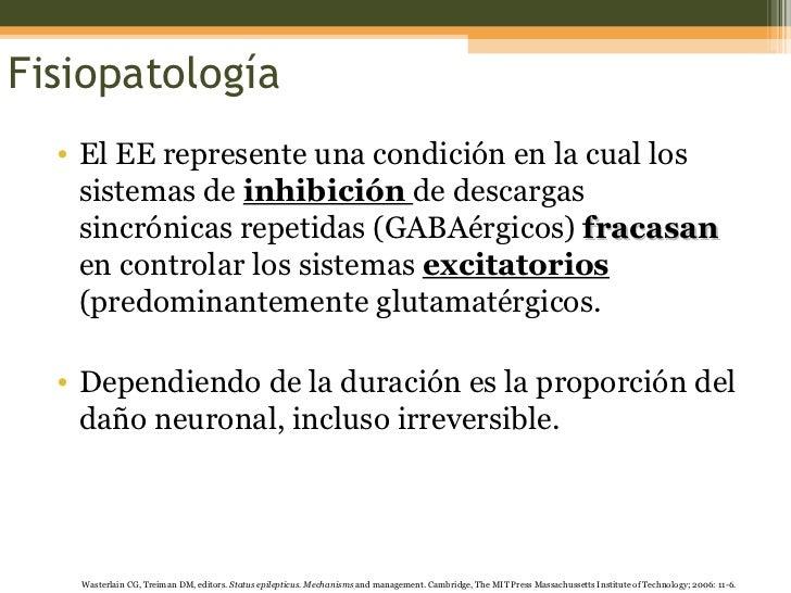 Fisiopatología <ul><li>El EE represente una condición en la cual los sistemas de  inhibición  de descargas sincrónicas rep...