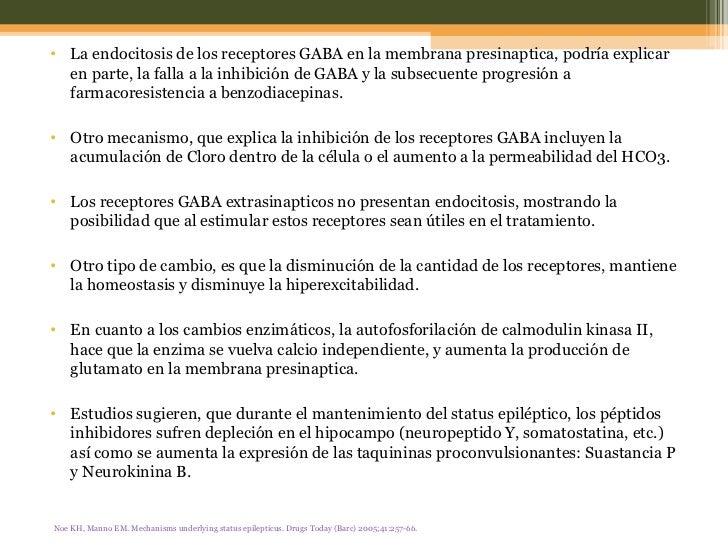 <ul><li>La endocitosis de los receptores GABA en la membrana presinaptica, podría explicar en parte, la falla a la inhibic...