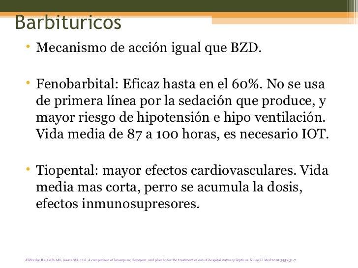 Barbituricos <ul><li>Mecanismo de acción igual que BZD.  </li></ul><ul><li>Fenobarbital: Eficaz hasta en el 60%. No se usa...
