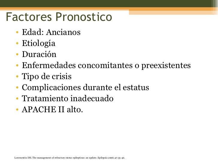 Factores Pronostico <ul><li>Edad: Ancianos </li></ul><ul><li>Etiología </li></ul><ul><li>Duración </li></ul><ul><li>Enferm...