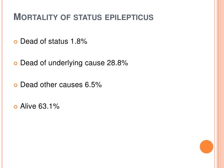 Mortality of status epilepticus<br />Dead of status 1.8% <br />Dead of underlying cause 28.8% <br />Dead other causes 6.5%...