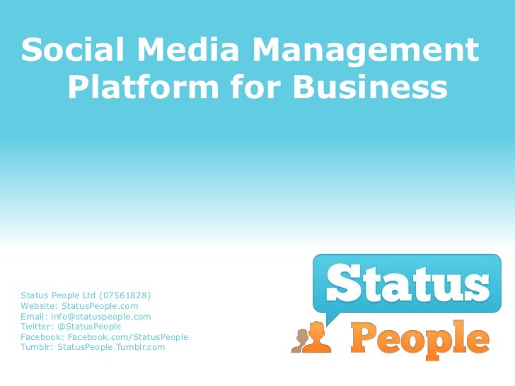 Social Media Management  Platform for BusinessStatus People Ltd (07561828)Website: StatusPeople.comEmail: info@statuspeopl...