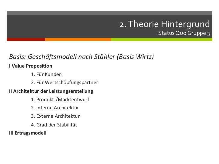 2. Theorie Hintergrund                                                                          Status Quo Grupp...