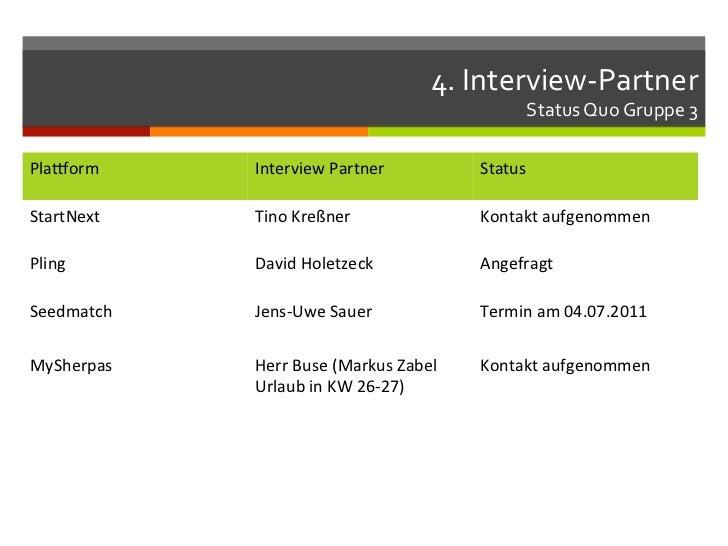4. Interview-‐Partner                                                                 Status Quo Gruppe 3 Pla...