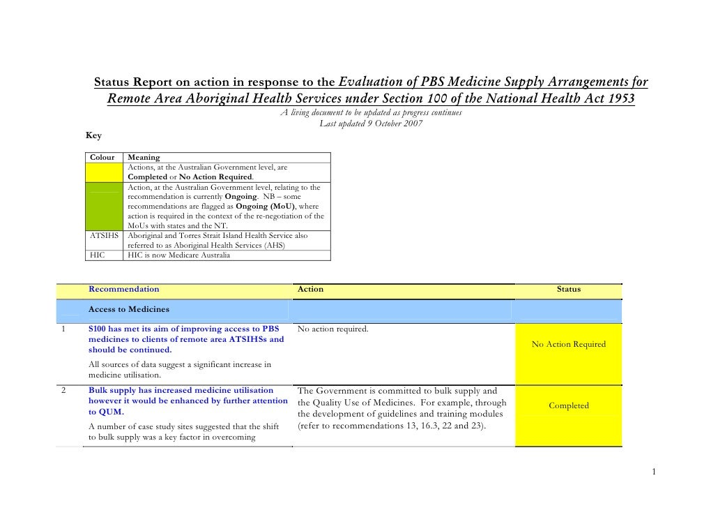 Status Report on action in response to the Evaluation of PBS Medicine Supply Arrangements for        Remote Area Aborigina...