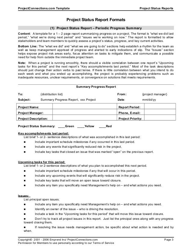 Doc452559 Weekly Project Report Template One Page Project – Sample Status Reports