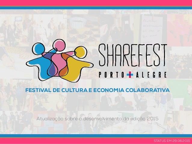 FESTIVAL DE CULTURA E ECONOMIA COLABORATIVA Atualização sobre o desenvolvimento da edição 2015 STATUS EM 29.06.2015