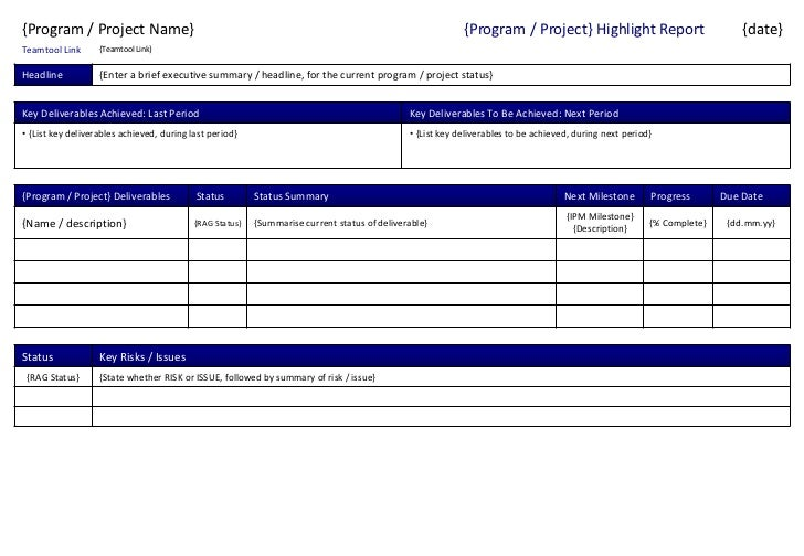 Program Project Status Report