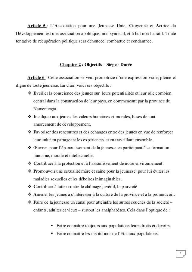 Statut De L A J U C A D Association Pour Une Jeunesse Unie Citoyen