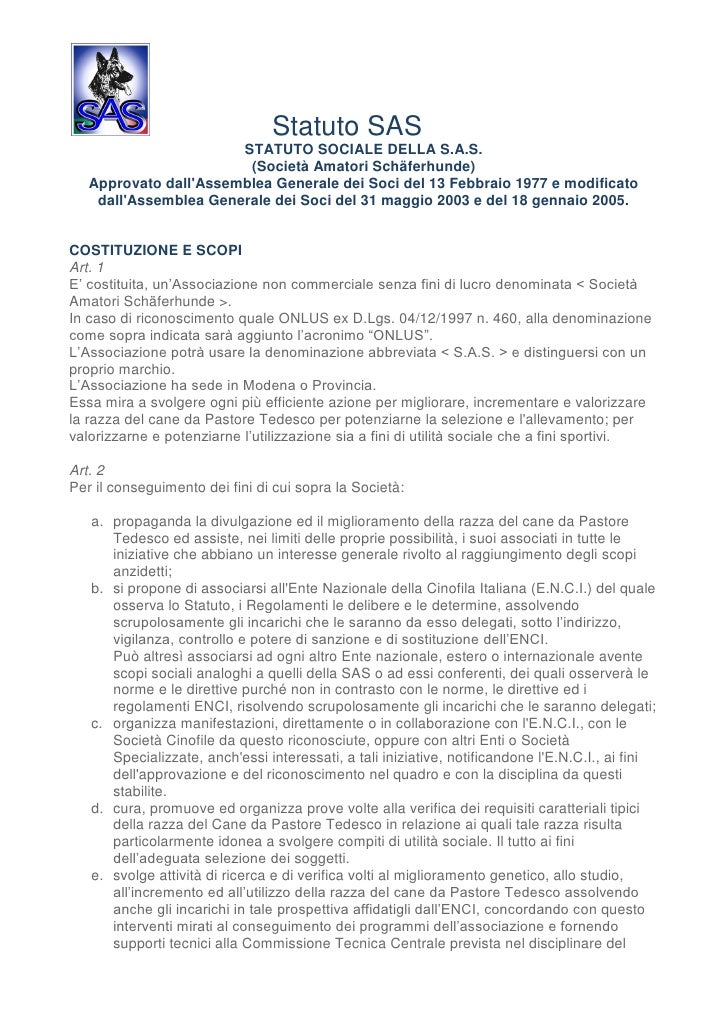 Statuto SAS                       STATUTO SOCIALE DELLA S.A.S.                        (Società Amatori Schäferhunde)   App...