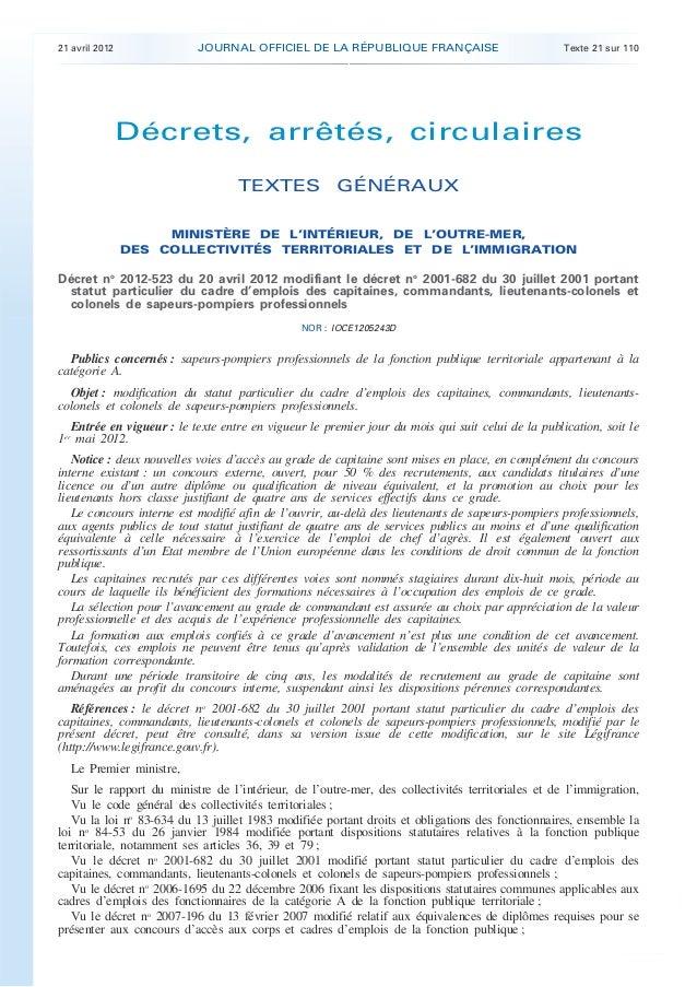 21 avril 2012              JOURNAL OFFICIEL DE LA RÉPUBLIQUE FRANÇAISE                             Texte 21 sur 110       ...