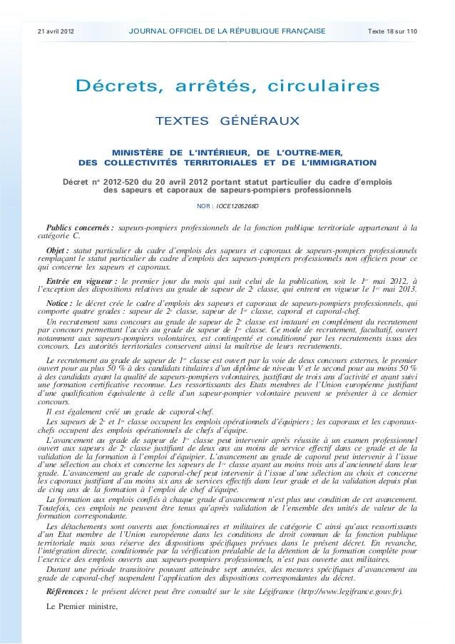 21 avril 2012              JOURNAL OFFICIEL DE LA RÉPUBLIQUE FRANÇAISE                              Texte 18 sur 110      ...