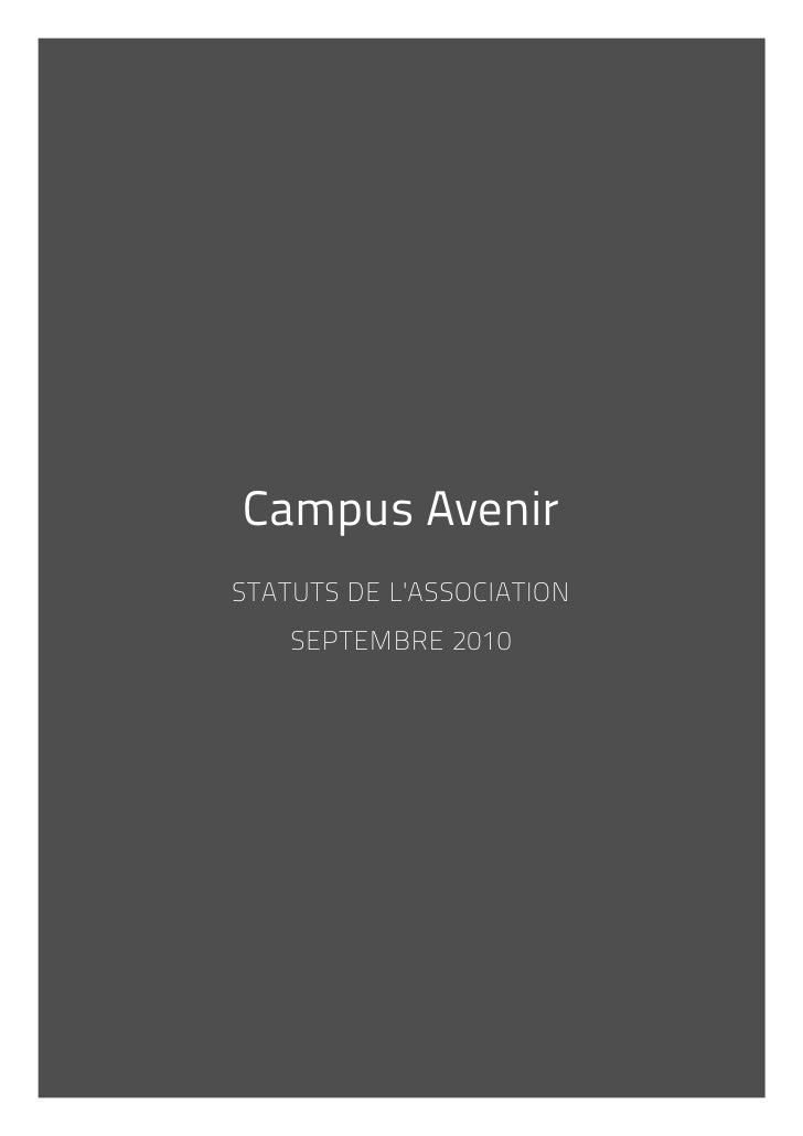 Campus AvenirSTATUTS DE LASSOCIATION    SEPTEMBRE 2010