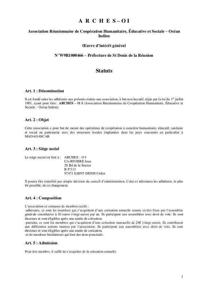 A R C H E S–OI  Association Réunionnaise de Coopération Humanitaire, Éducative et Sociale – Océan                         ...