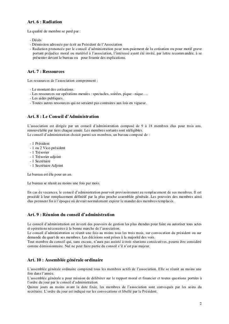 Art. 6 : RadiationLa qualité de membre se perd par : - Décès - Démission adressée par écrit au Président de l'Association ...