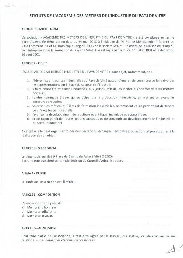 Statuts académie des_métiers_de_l'industrie_du_pays_de_vitre