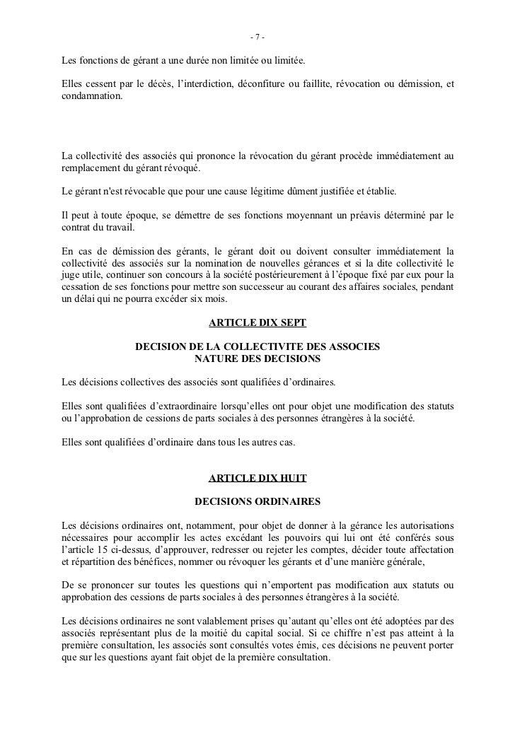 lettre de demission d un associé sarl Statut sarl lettre de demission d un associé sarl