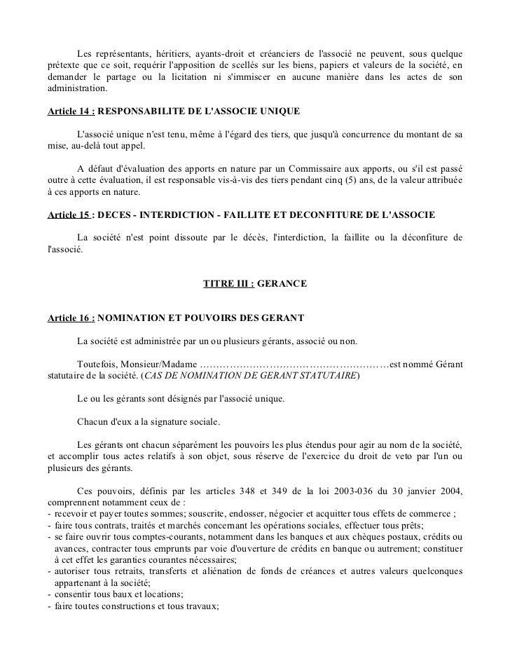 Statut S A R L Unipersonnelle