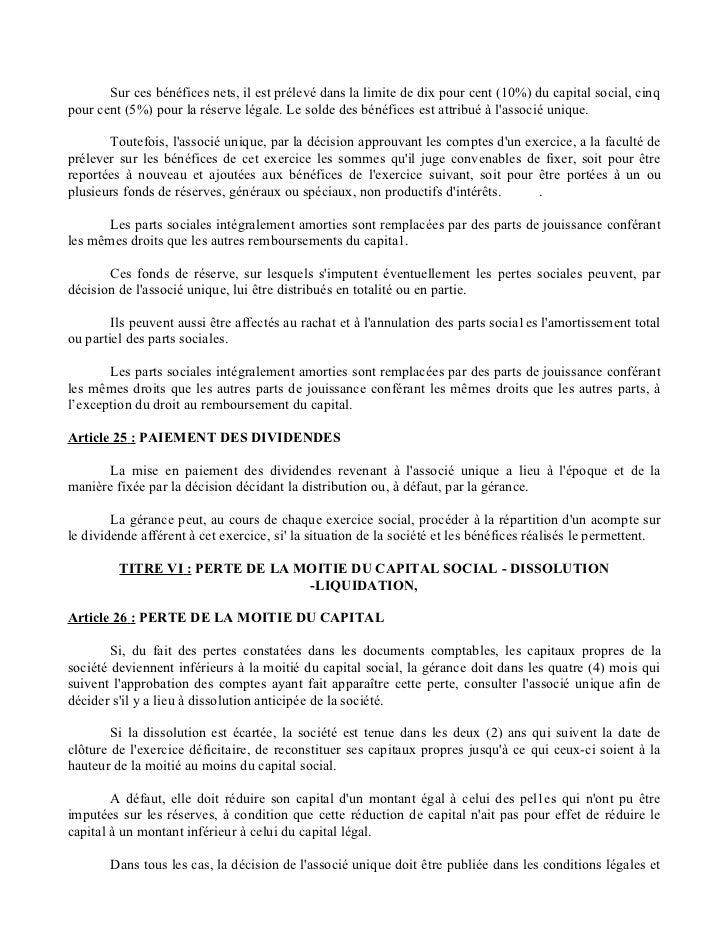 lettre de demission co gerant sarl Statut S.A.R.L unipersonnelle lettre de demission co gerant sarl