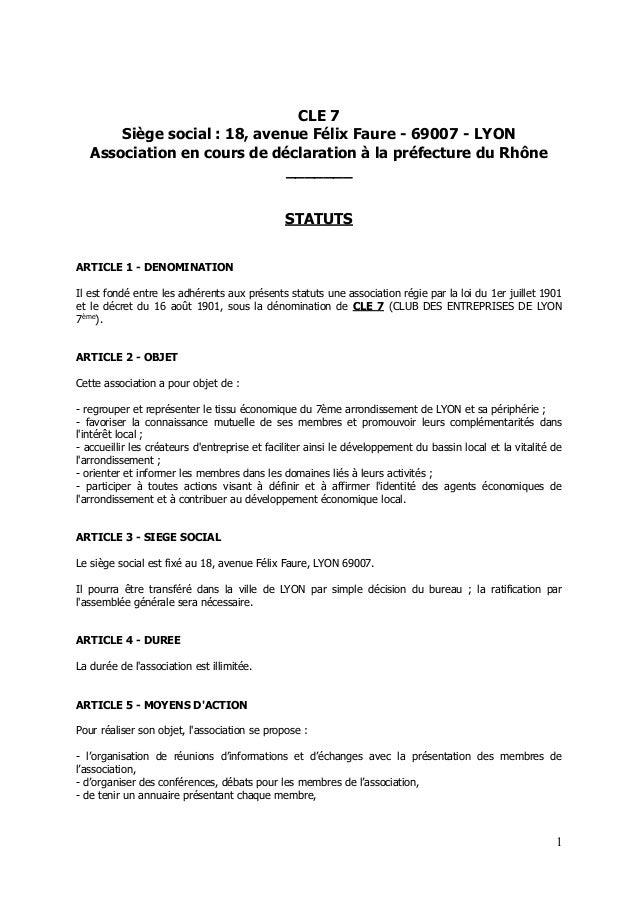 CLE 7 Siège social : 18, avenue Félix Faure - 69007 - LYON Association en cours de déclaration à la préfecture du Rhône __...