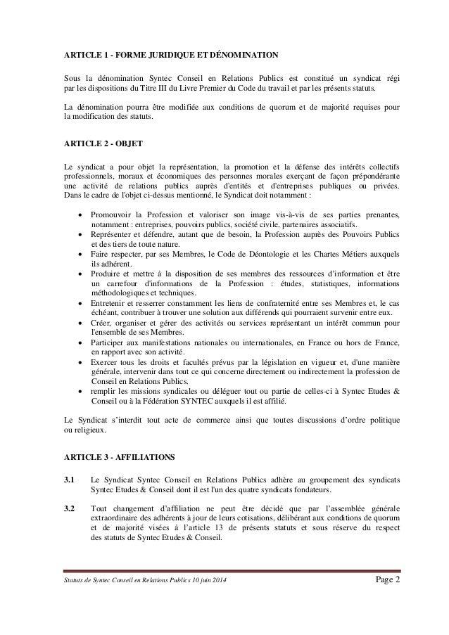 Statuts de Syntec RP Slide 2