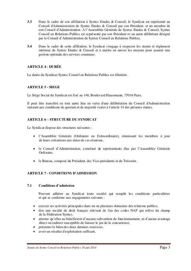 Statuts de Syntec RP Slide 3