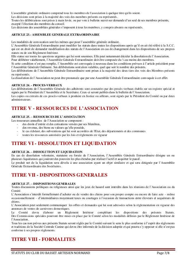 Statuts Du Club Du Basset Artesien Normand