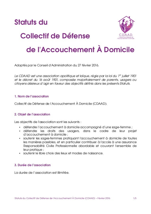 Statutsdu CollectifdeDéfense del'AccouchementÀDomicile AdoptésparleConseild'Administrationdu27févrie...