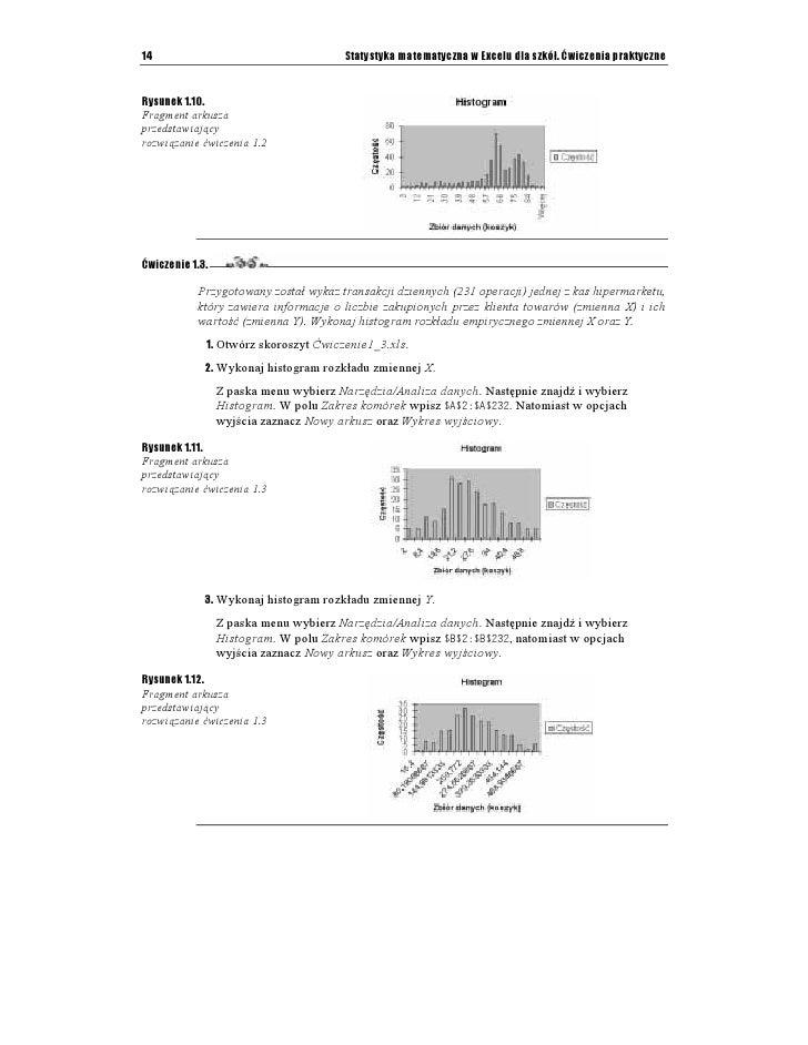 Statystyka Matematyczna W Excelu Dla Szkół ćwiczenia Praktyczne