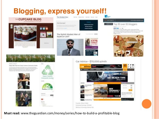 Blogging, express yourself! Must read: www.theguardian.com/money/series/how-to-build-a-profitable-blog