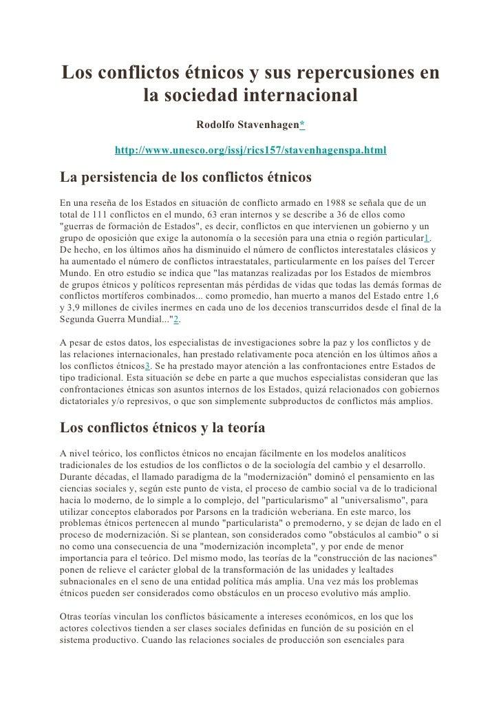 Los conflictos étnicos y sus repercusiones en           la sociedad internacional                                   Rodolf...