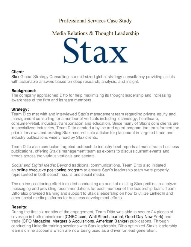 Stax Professional Services Case Study Media Relations