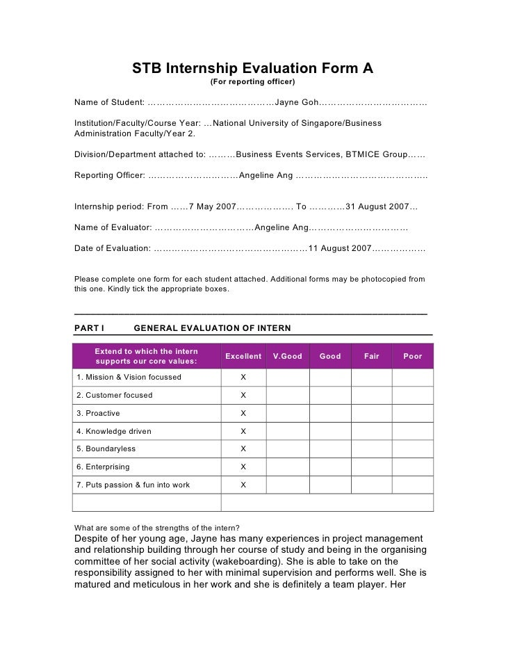 Internship Evaluation Form – Sample Student Evaluation Forms