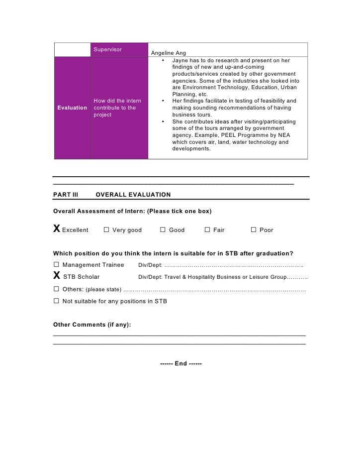 evaluation of internship Internship finalization checklist: contract (submitted by student before  of  internship) employer evaluation of intern (submitted by employer by finals week  of.