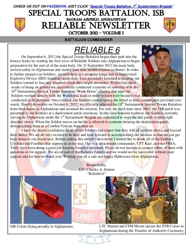 "CHECK US OUT ON FACEBOOK JUST CLICK ""Special Troops Battalion, 1st Sustainment Brigade""            Special troops battalio..."