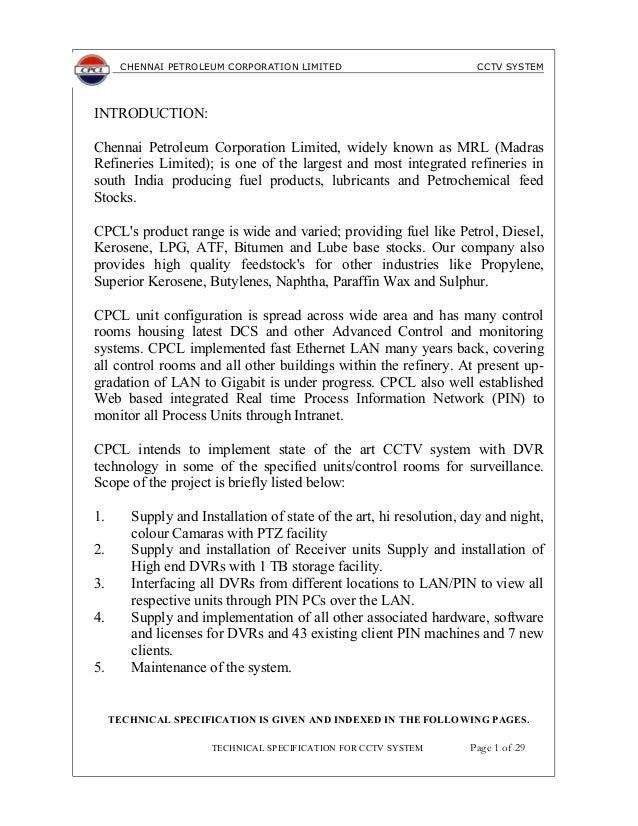 Stc cctv spec chennai petroleum corporation limited cctv system introduction chennai petroleum corporation limited widely known as altavistaventures Gallery