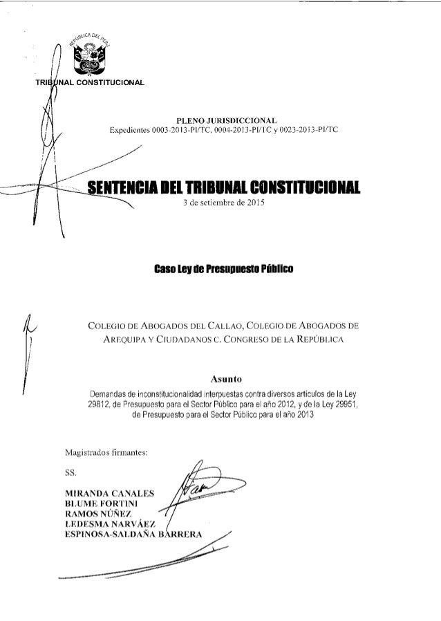 PLENO JURISDICCIONAL Expedientes 0003-20I3-PUTC. 0004-2013-PI/ FC y 0023-2013-PUTC SENTENCIA BEL TRIBUNAL CONSTITUCIONAL 3...