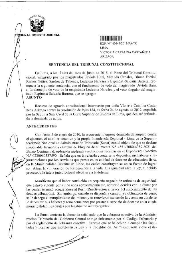 I. IIIIIIIII11111111 11111 ,TRIBUNAL CONSTITUCIONAL EXP N 00645 2013-PA/ICC LIMA VICTORIA CATALINA CASTAÑEDA ARIZAGA SENTE...