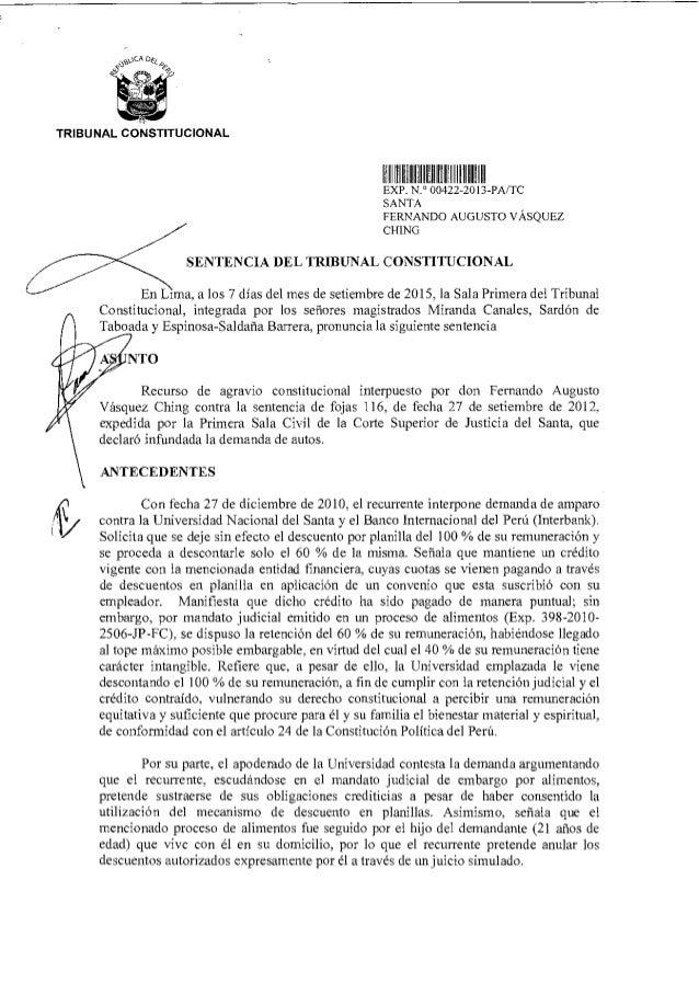 TRIBUNAL CONSTITUCIONAL V1I Iuiii Mil EXP N ° 00422 2013-PA/TC SANTA FERNANDO AUGUSTO VÁSQUEZ CHING SENTENCIA DEL TRIBUNAL...