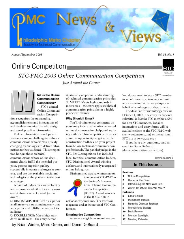 August/September 2003 Vol. 38, No. 1 by Brian Winter, Marc Green, and Donn DeBoard Online Competition In This Issue… Featu...