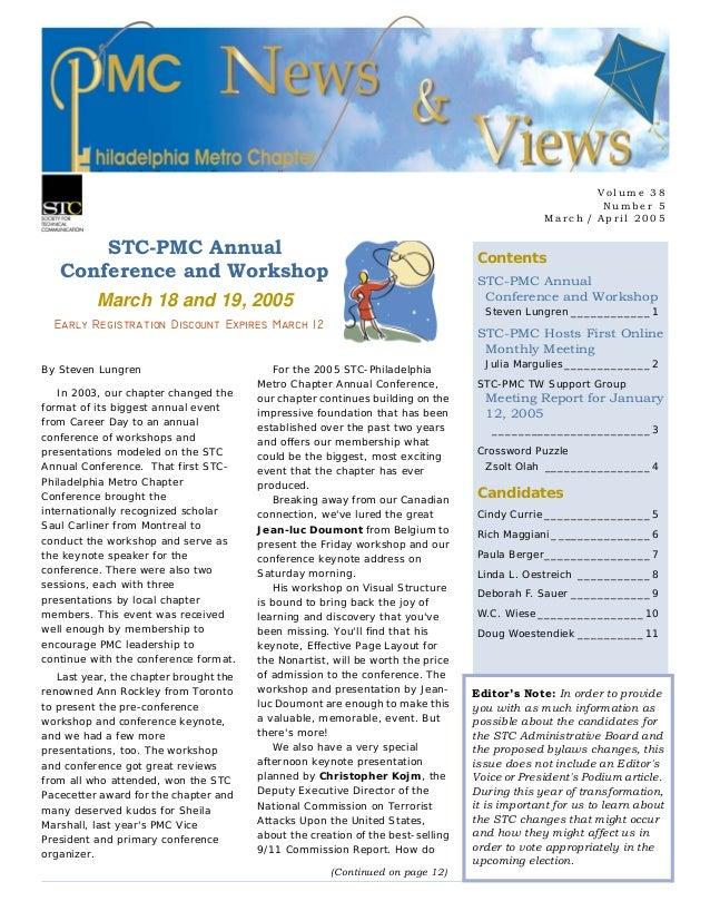 V olu me 38 Num b er 5 Mar ch / Ap ril 2 0 05 Contents STC-PMC Annual Conference and Workshop Steven Lungren ____________1...